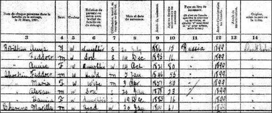 1901 census sample
